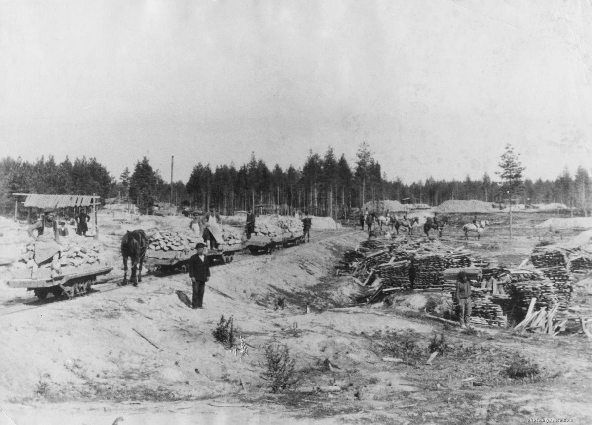 Конка на лесозаготовке