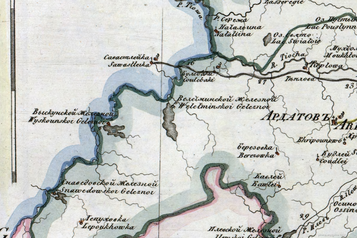 Часть Генеральной карты Нижегородской губернии. Выкса — фото старой Выксы